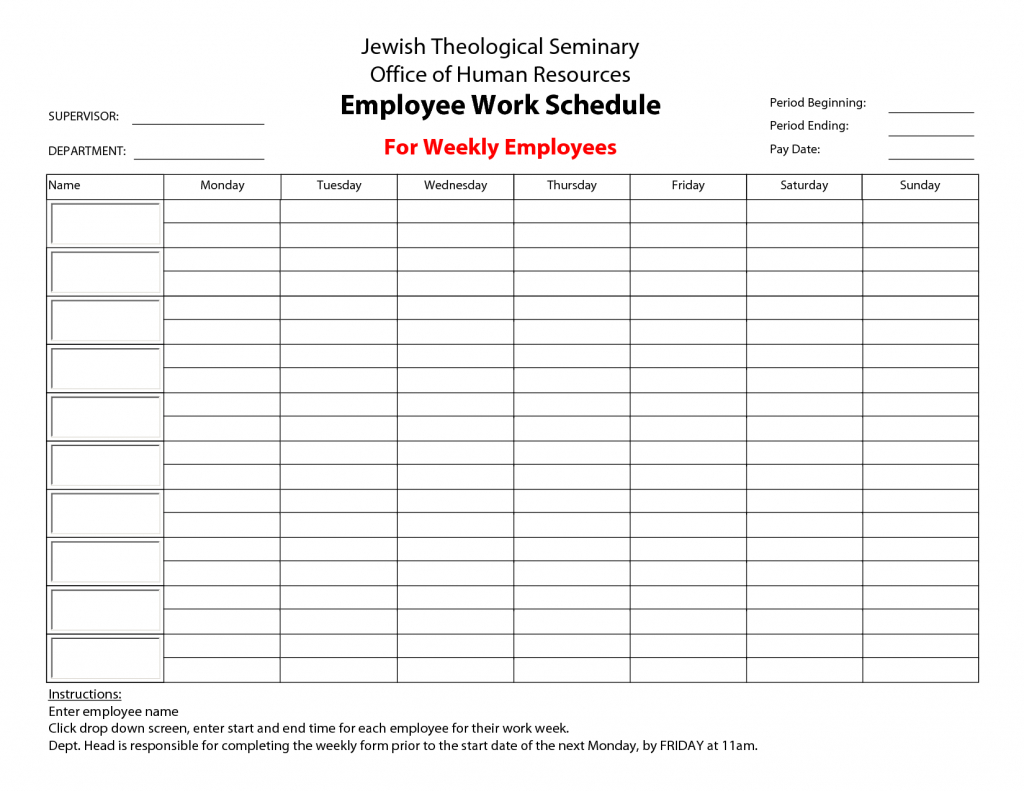 printableemployeeworkscheduletemplate monthly schedule time and date schedule template