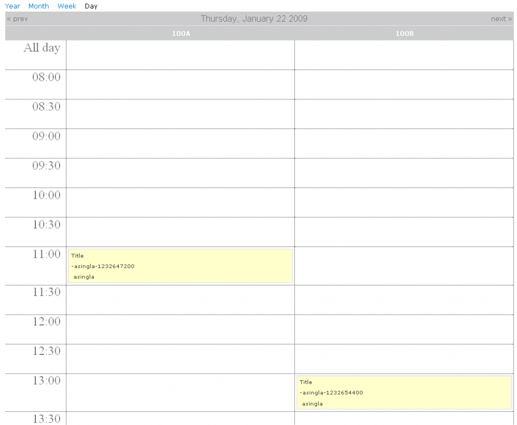 show events with fromto spanning multiple hours on calendar a calendar view by days and hours