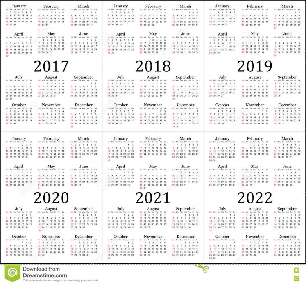 six year calendar 2017 2018 2019 2020 2021 and 2022 calendar 5 years
