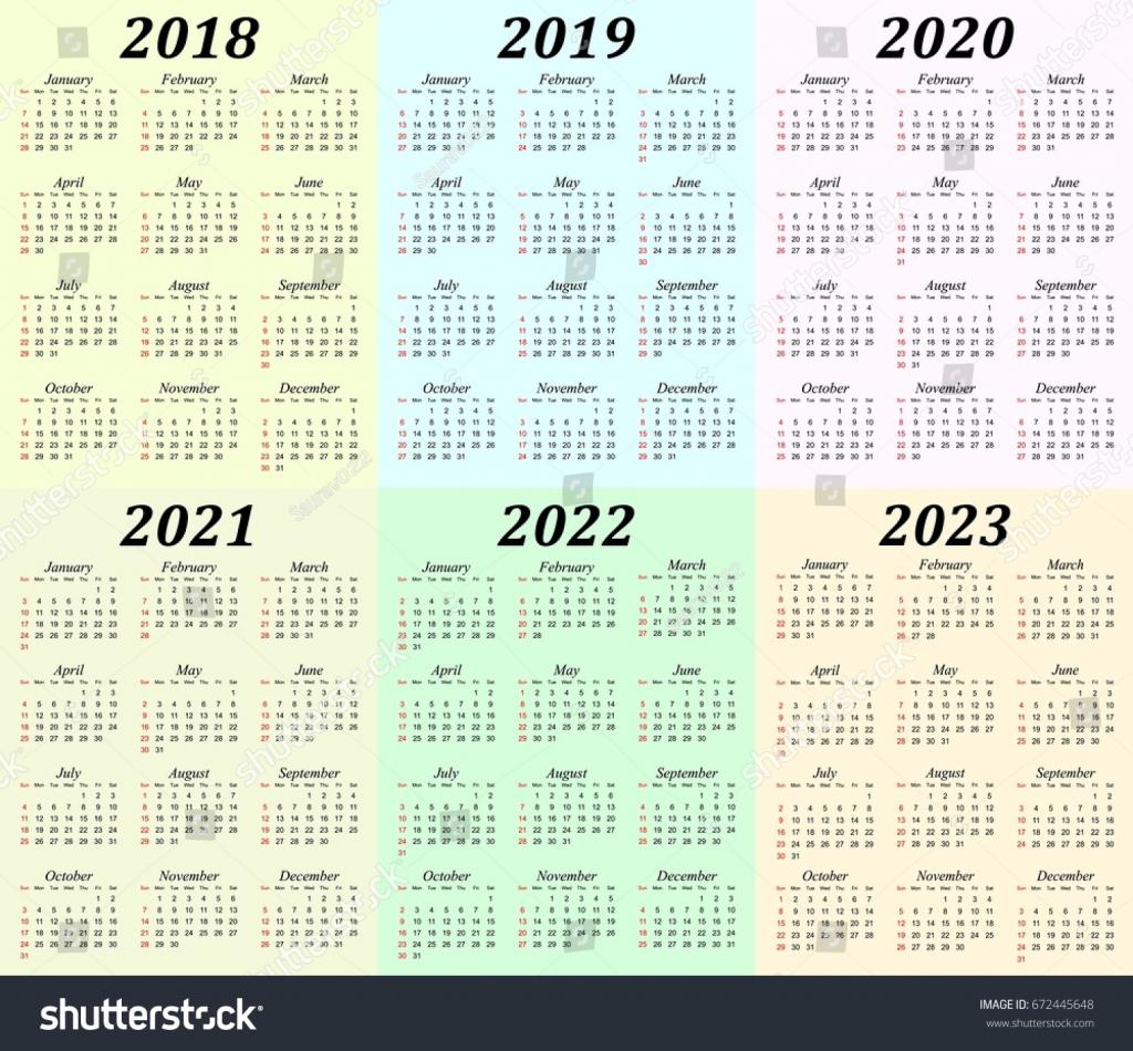 six year calendar 2018 2019 2020 stock vector royalty free calendar 5 years