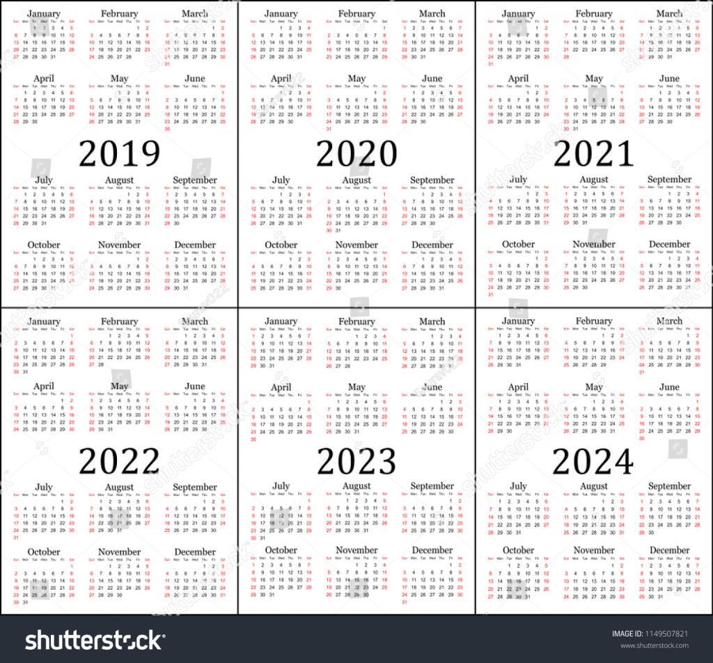 six year calendar 2019 2020 2021 stock vector royalty free calendar next five years