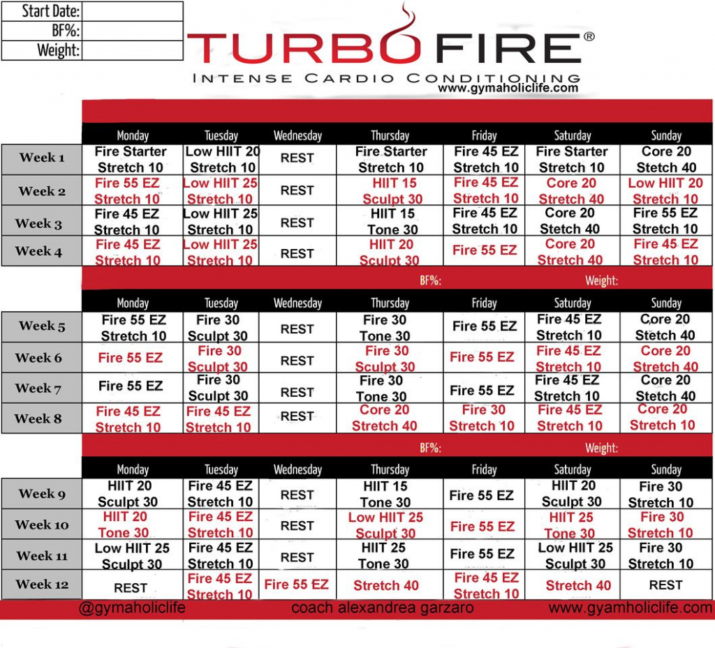 turbo fire calendar schedule turbo fire workout turbo fire calendar