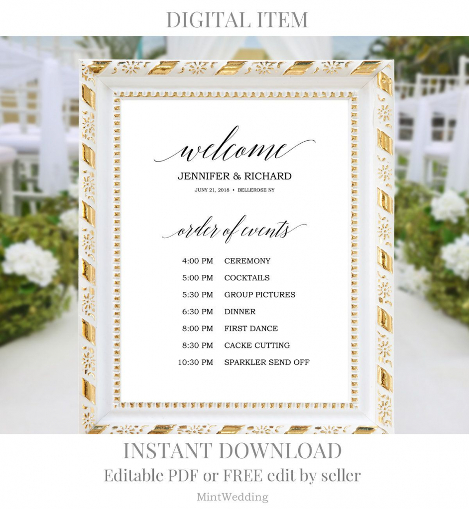 wedding order of events sign printable rustic wedding printable countdown template wedding