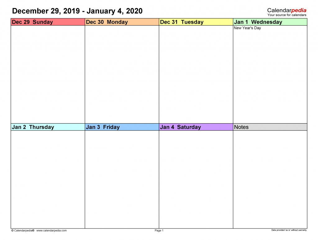 weekly calendars 2020 for excel 12 free printable templates calendar 7 day 2020 template printable