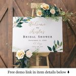 Welcome To Bridal Shower Sign Template Gold Foliage Brunch Printable Countdown Template Wedding