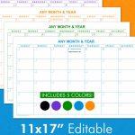 11×17 Editable Calendar Templates Landscape Calendars Downloadable Calendars Printable On 11 X 17 Paper