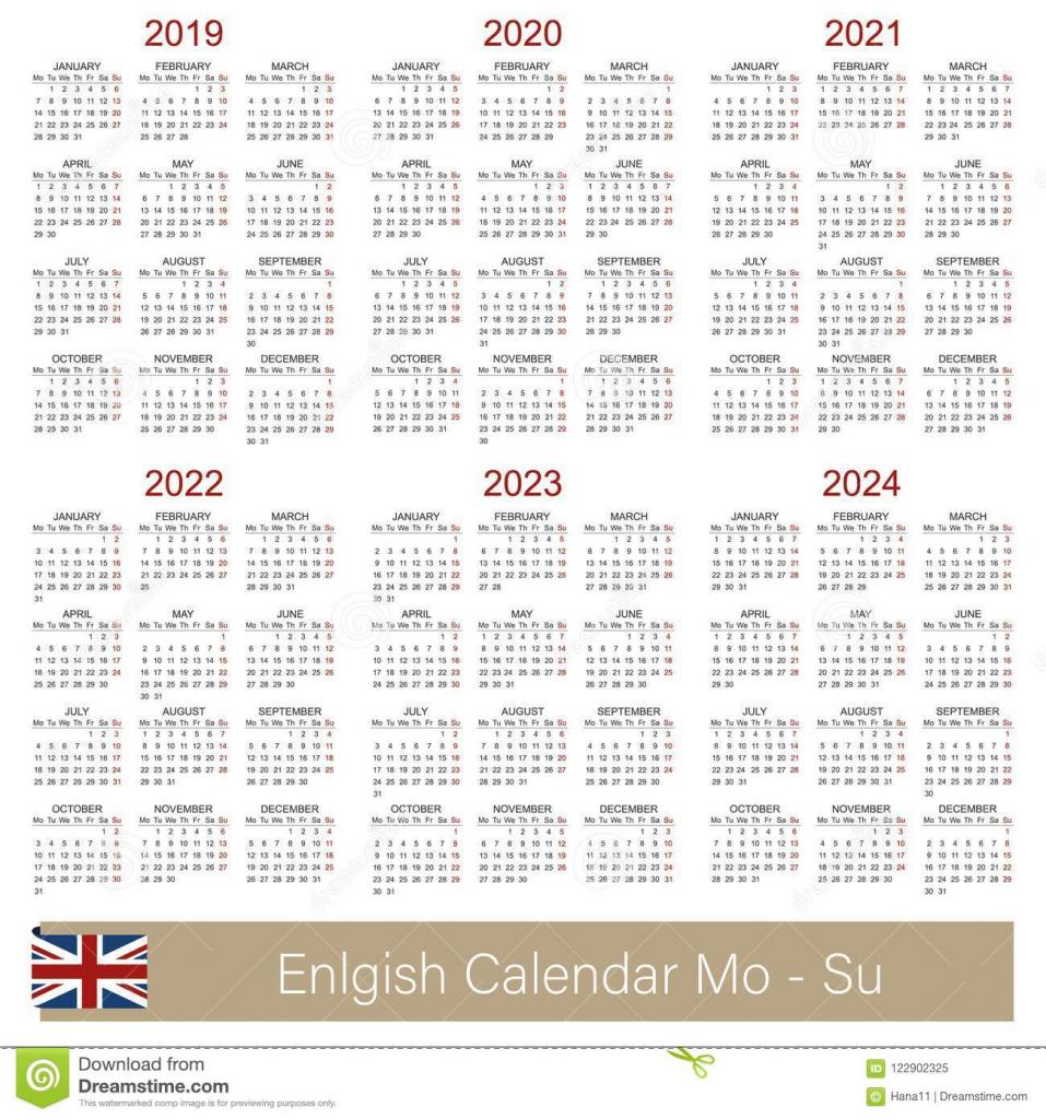 2019 2024 5 year calendar