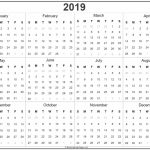 2019 Year Calendar Yearly Printable Calender For The Next 5 Years To Print
