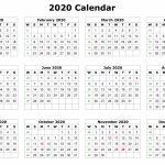 2020 12 Months Calendar Printable Printable Calendar 11×17 Printable Pictures 11×17