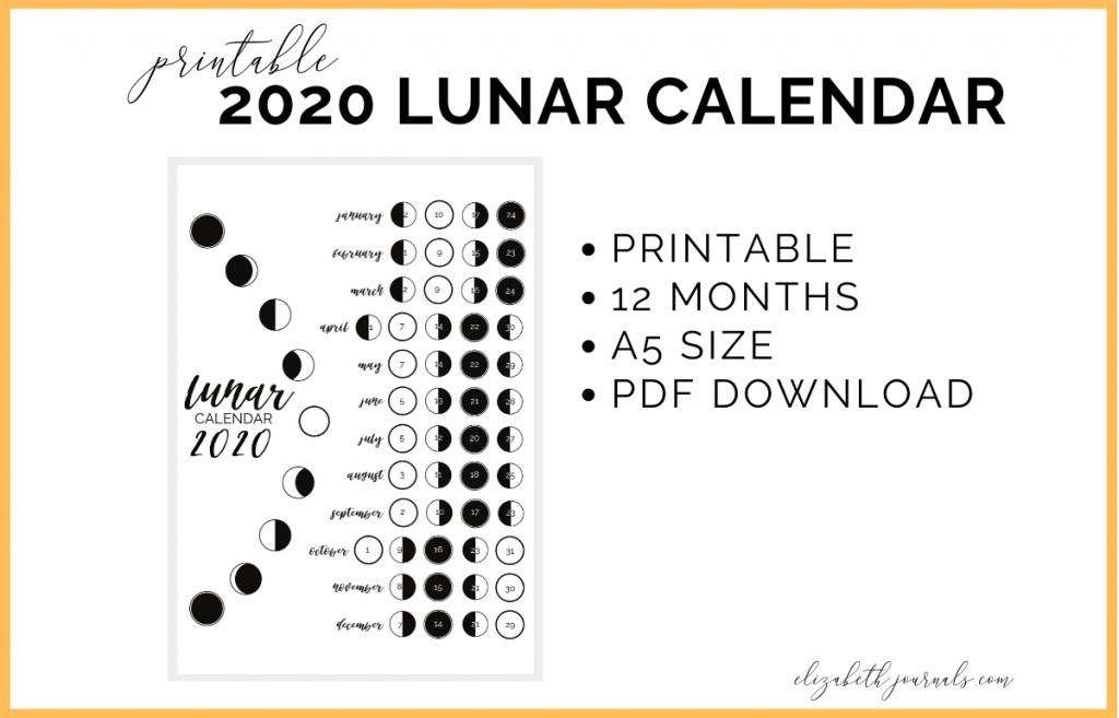 2020 lunar calendar bullet journal printable lunar calendar 2020 1