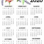 2020 Year Calendar Printable Free 2020 Free 5 Year Calendars