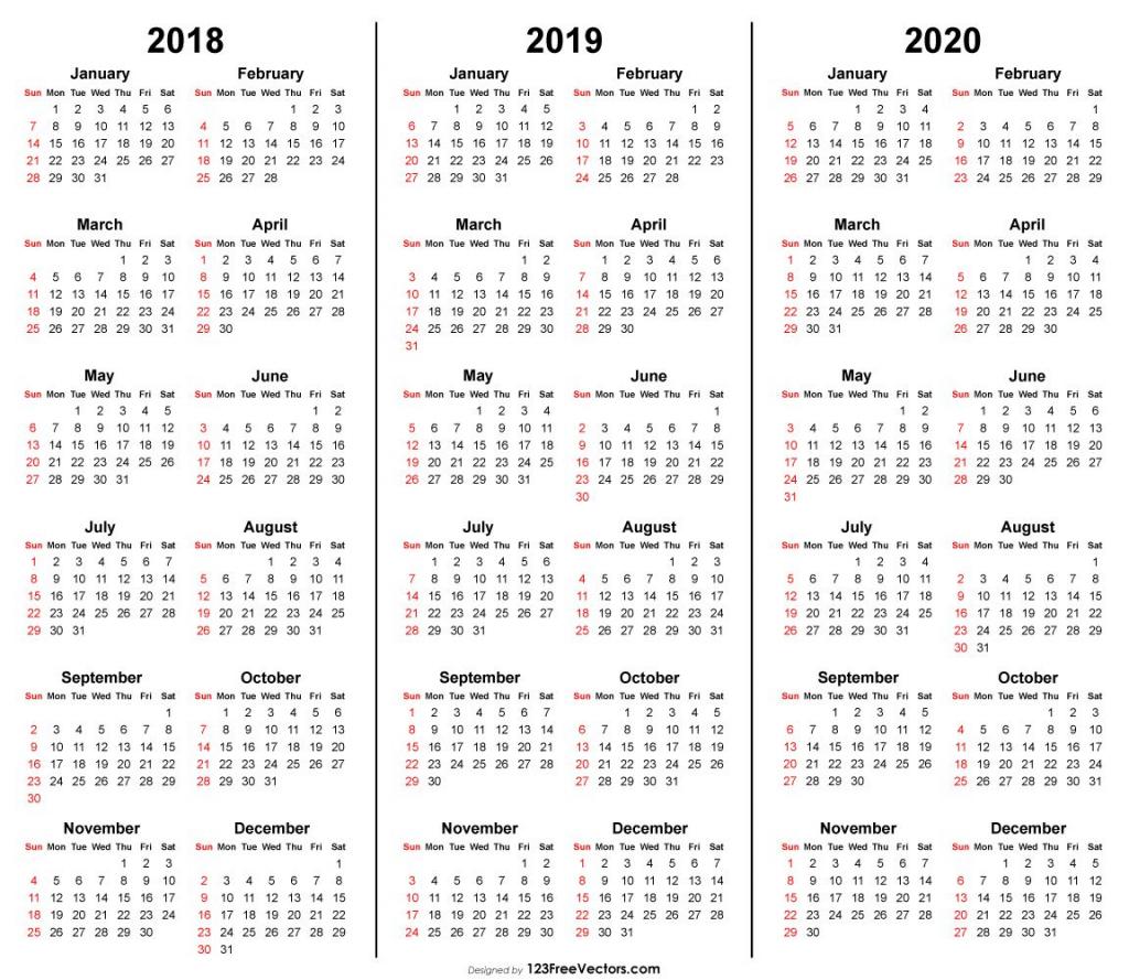 3 year calendar 2018 2019 2020 printable 3 year calendars