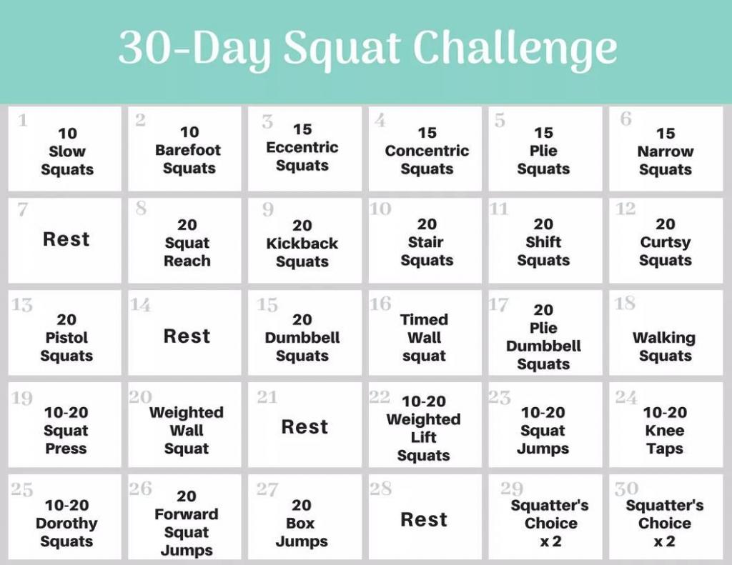 30 day squat challenge 30 day squat challenge schedule