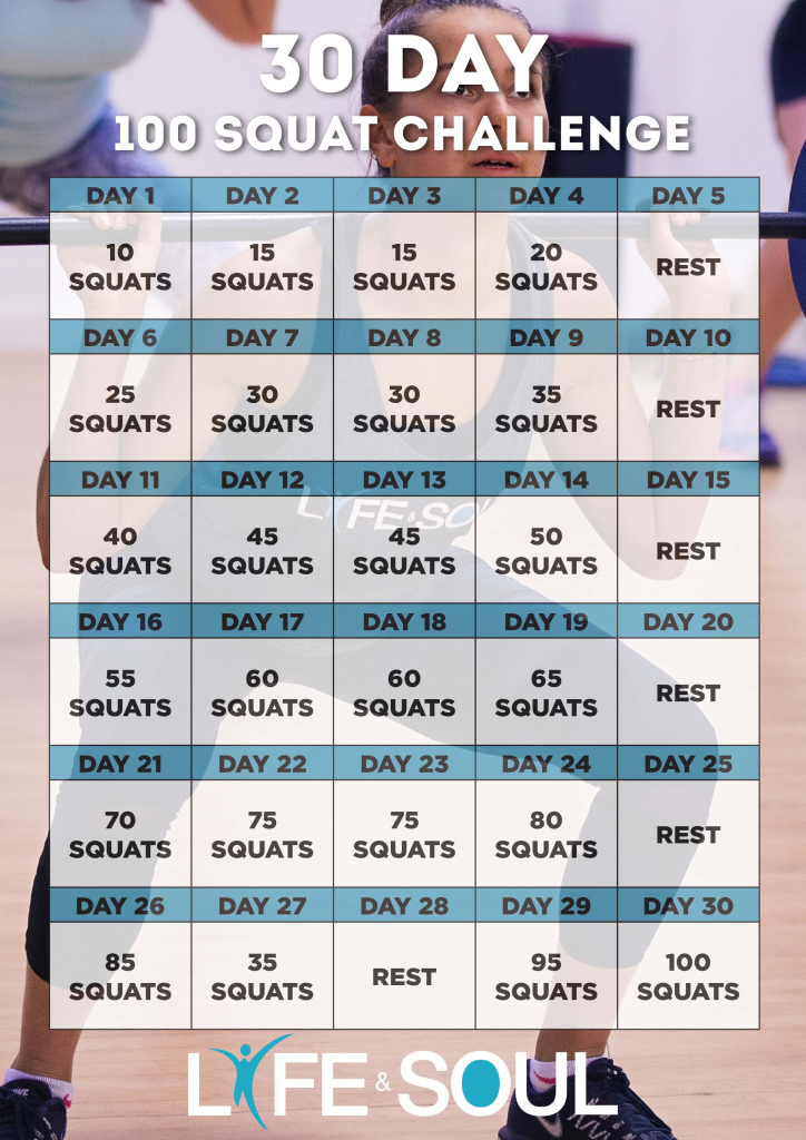 30 day squat challenge life soul 30 day squat challenge schedule