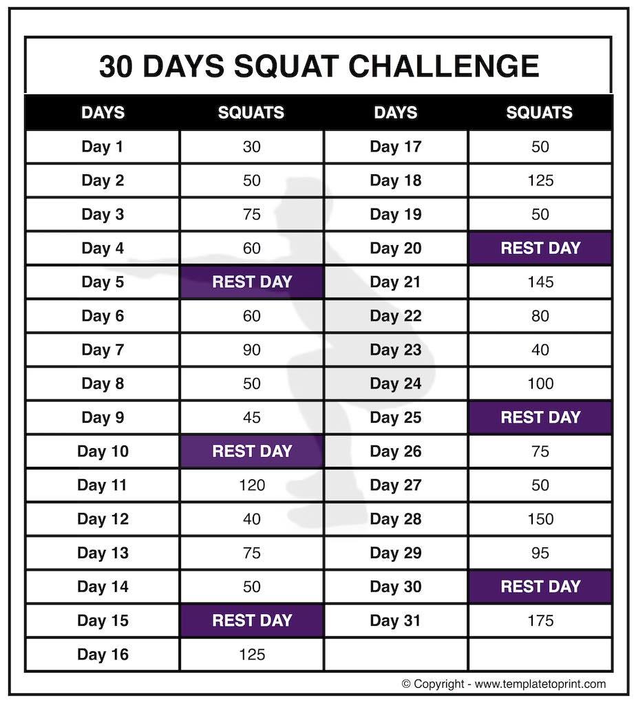 30 squat challenge printable calendar chart legs workout squat challenge callendar