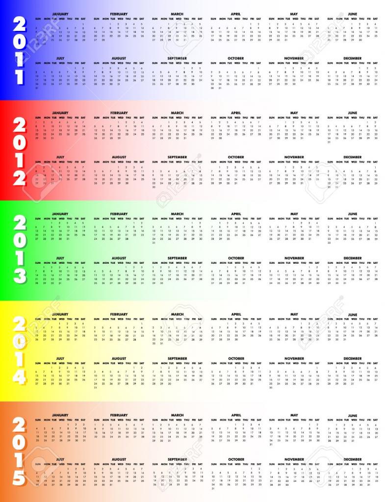 5 year calendar 2011 through 2015 on colorful background sunday start 5 year calendar