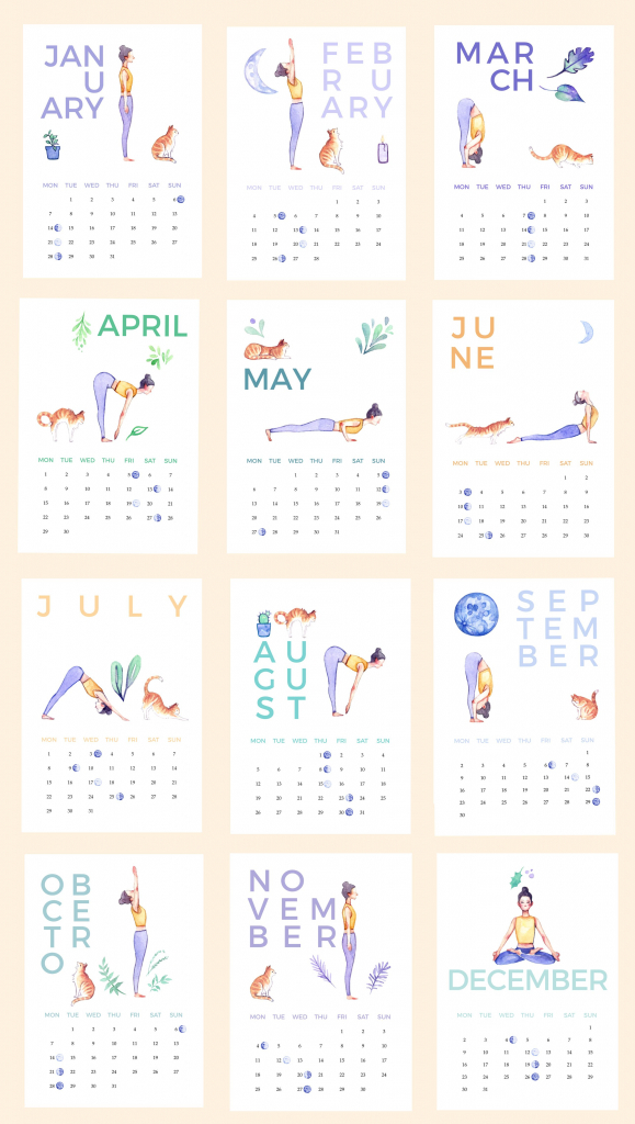 a printable illustrated yoga calendar for 2019 with a cat 8 x 11 5 printable calendar