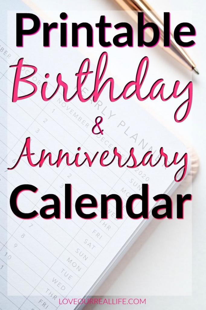 birthday and anniversary calendar printable diy calendar birthday and anniversary calendars