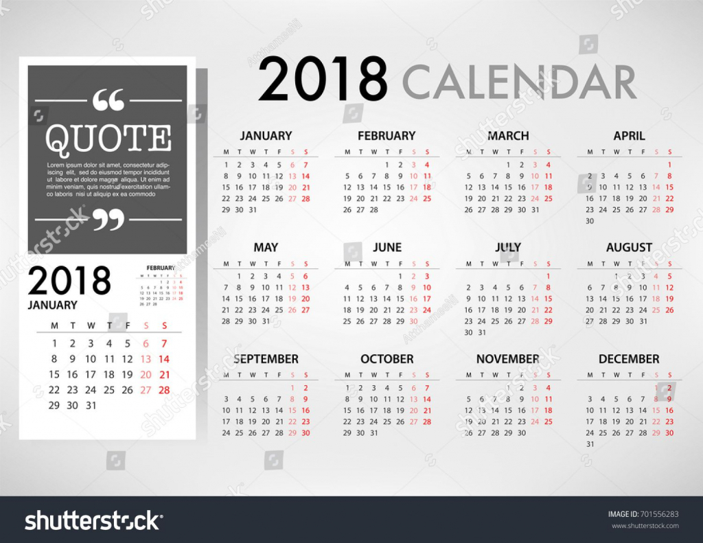 calendar for 2018 on white background for organization and 2 weeks calander schedule background