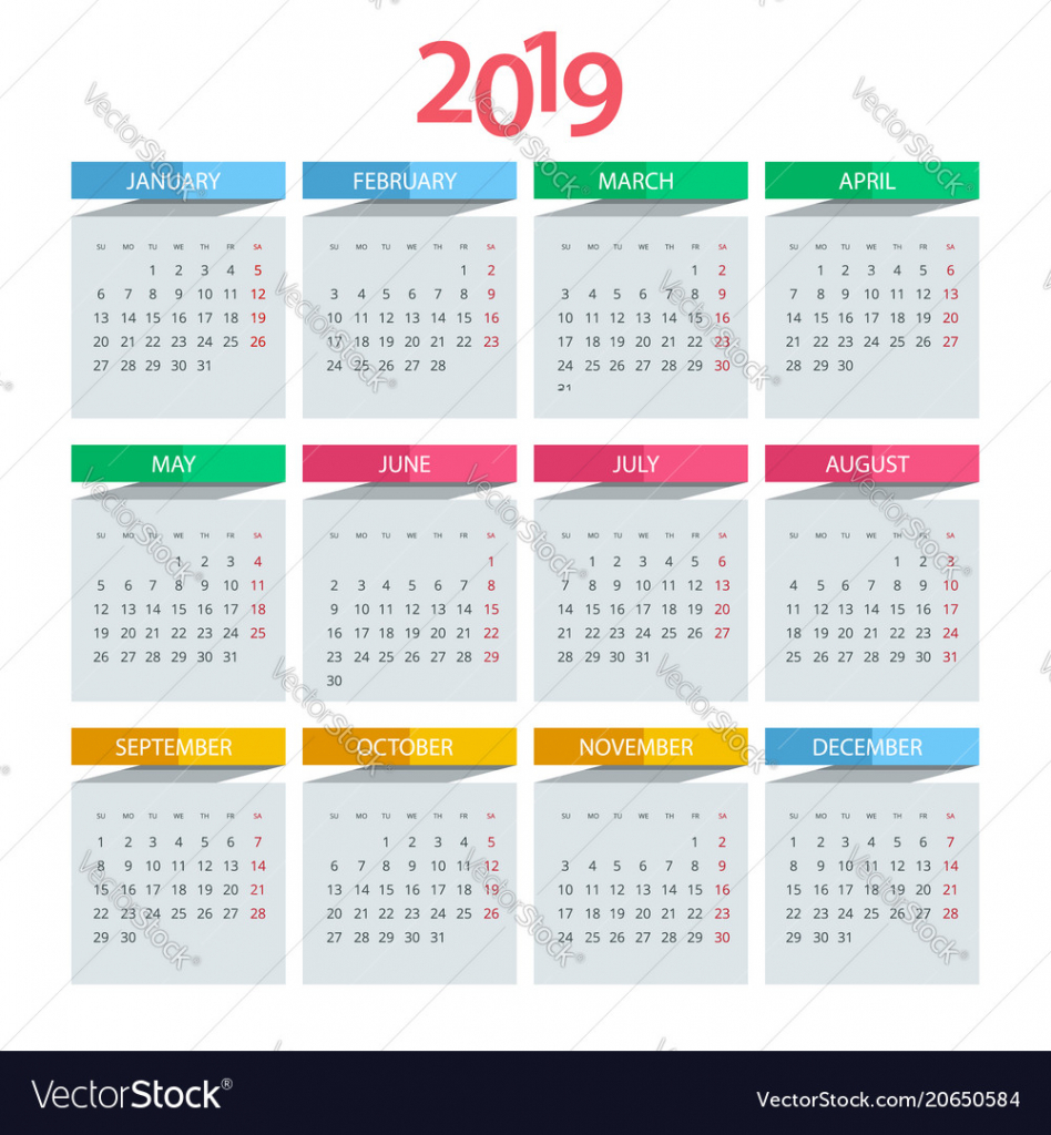 calendar for 2019 year design print calender for the next 5 years to print