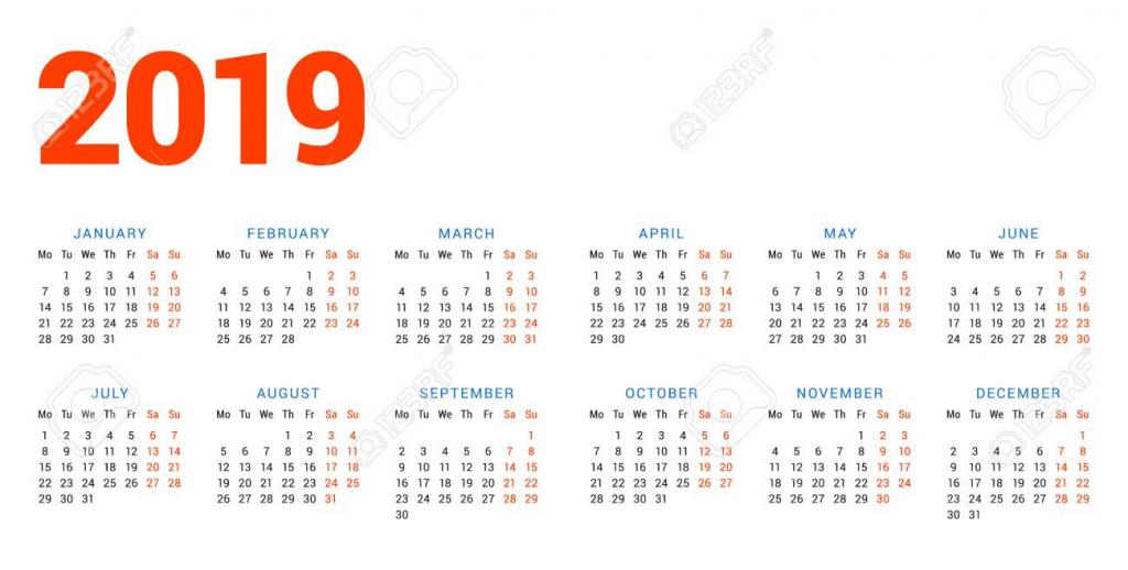 calendar for 2019 year on white background week starts on monday 2 weeks calander schedule background