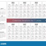 Calendar Template For 11 Years 12 Months On One Page Stock Ten Year Calendar Printable