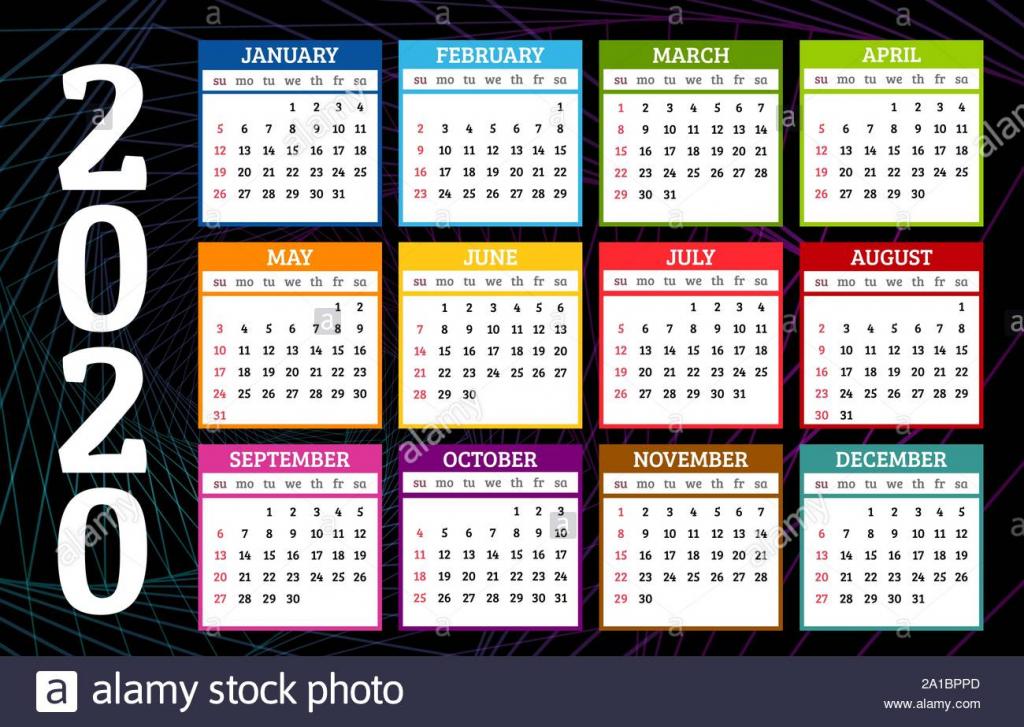 colorful calendar 2020 year on dark abstract background week 2 weeks calander schedule background