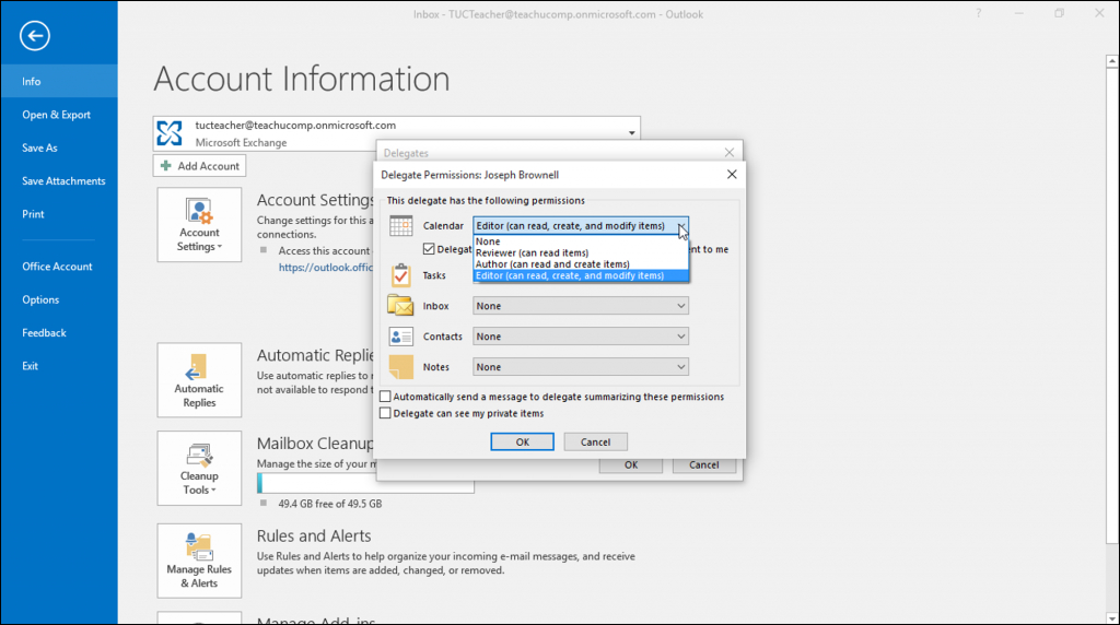 create a delegate in outlook instructions teachucomp inc outlook calendar permissions levels