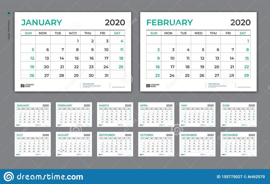desk calendar 2020 template week starts on sunday set of 8 x 11 5 printable calendar