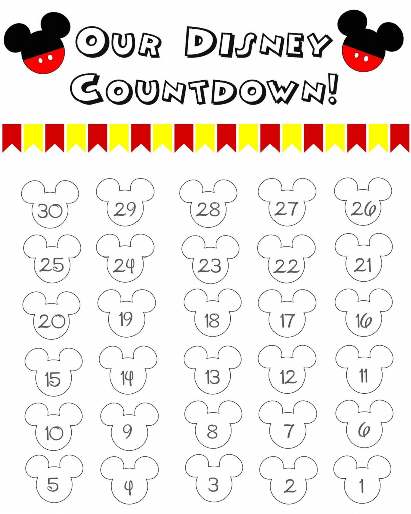 Disney World Countdown Calendar Free Printable Disney Disney Countdown Printable Planner