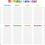 Excel Template For Birthday Calendar In Color Landscape Birthday And Anniversary Tracker Template