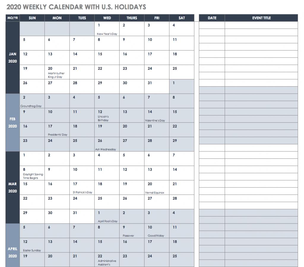 free blank calendar templates smartsheet daily calendar 2020 with quarter hours