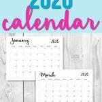 Free Printable 2020 Calendar Monthly Planner Printable Printable Countdown Calendar 2020