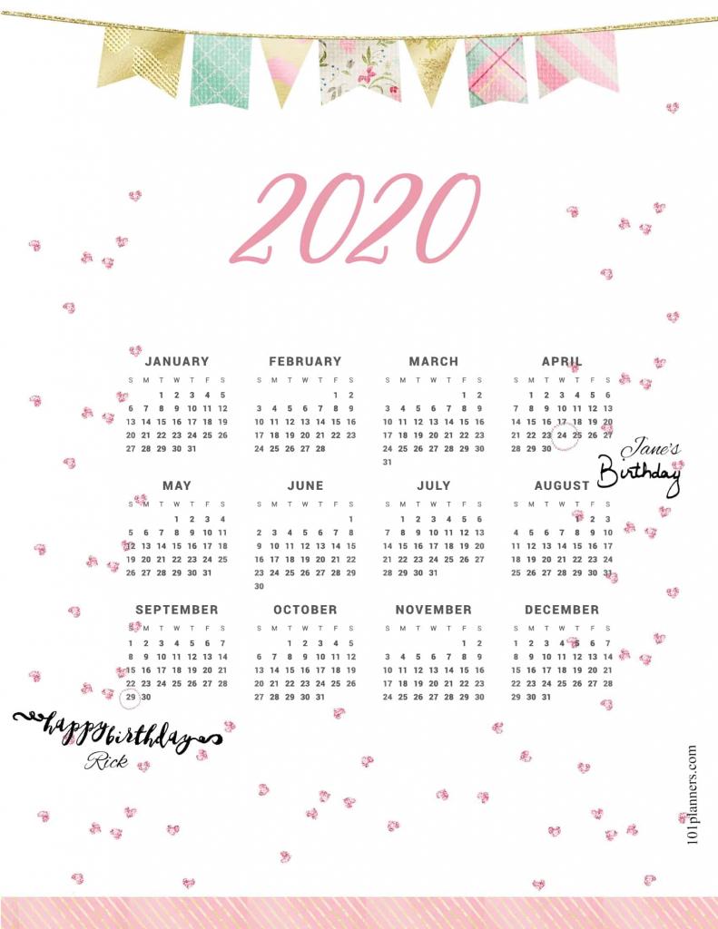 free printable 2020 yearly calendar at a glance 101 printable countdown calendar 2020