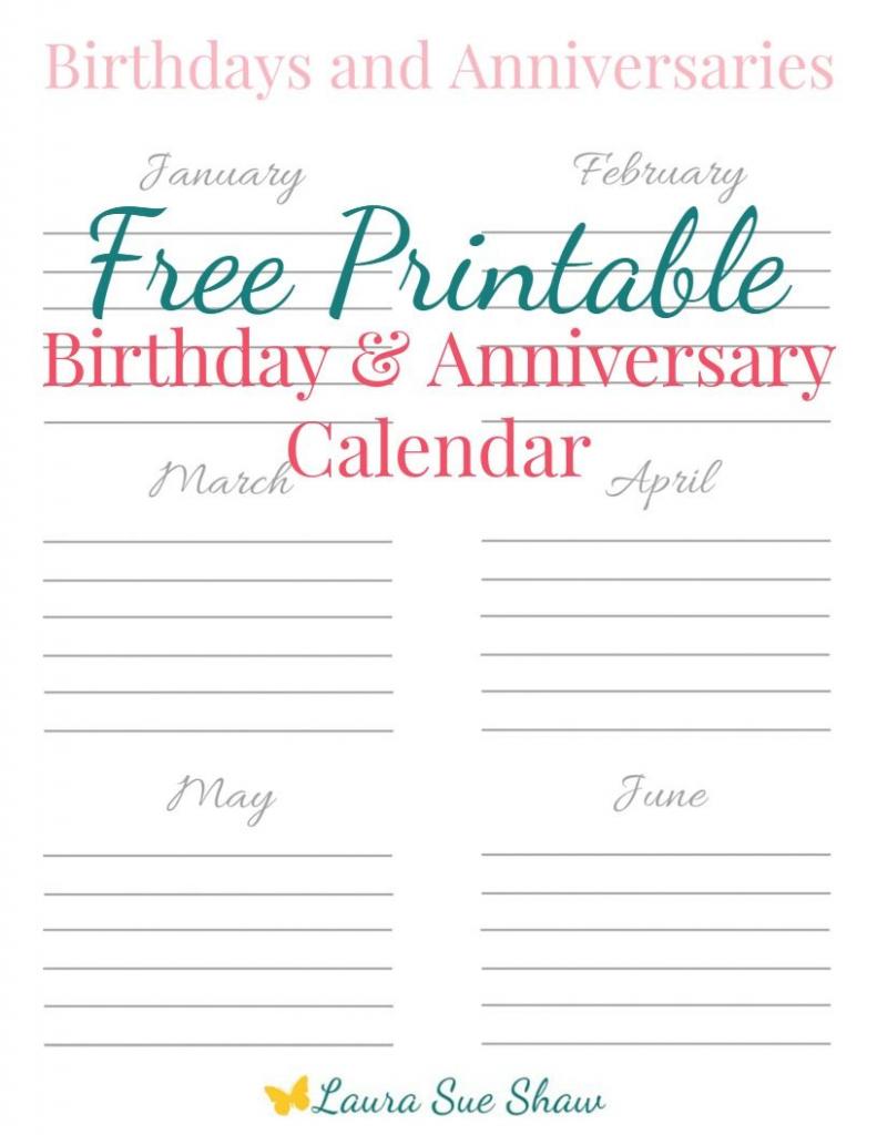free printable birthday anniversary calendar birthday birthday and anniversary calendars