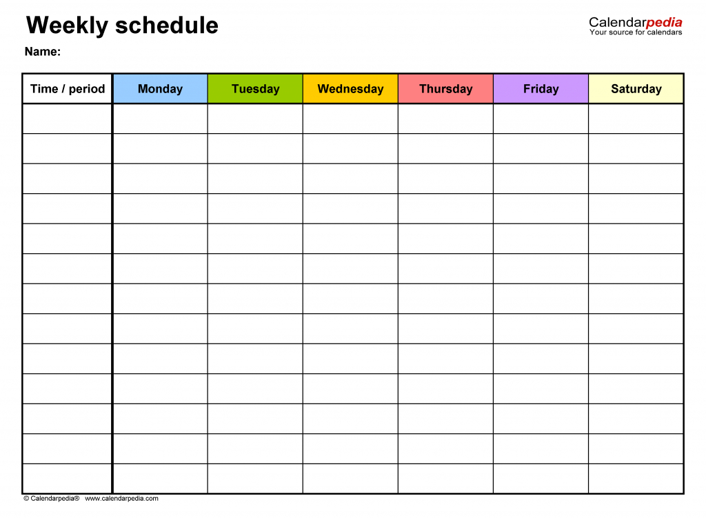 free weekly schedule templates for excel 18 templates week 6 printable schedule