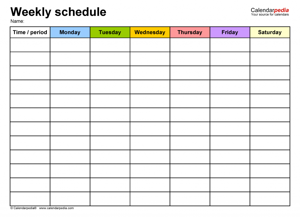 free weekly schedule templates for word 18 templates week 6 printable schedule 1