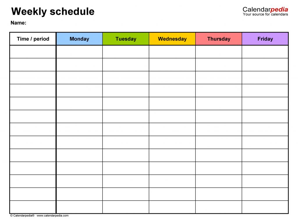 free weekly schedule templates for word 18 templates week 6 printable schedule