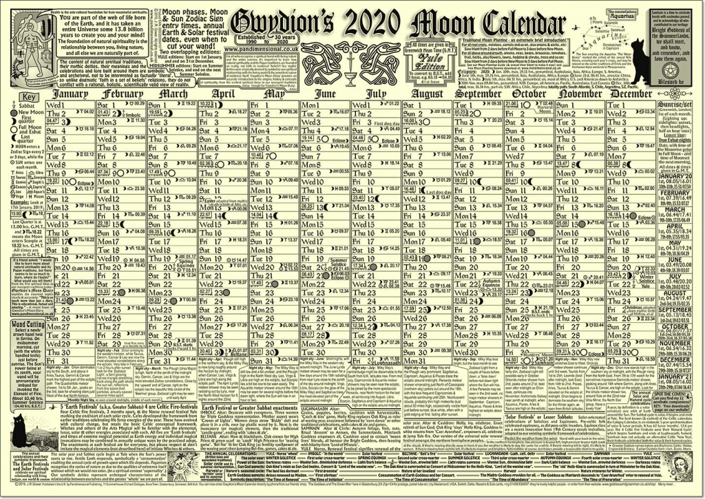 Gwydions Moon Calendar The New 2020 Edition Buy Online Online Day Counter Calendar 2020