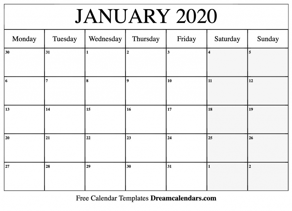 january 2020 calendar printable monday calendar free printable sunrise sunset schedule