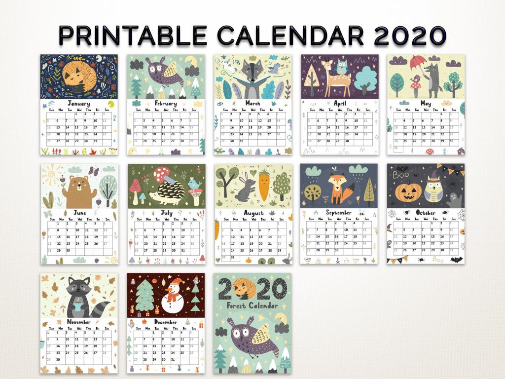 kids calendar 2020 printable calendar 2020 forest theme printable monthly calendar 2020 with my little ponies