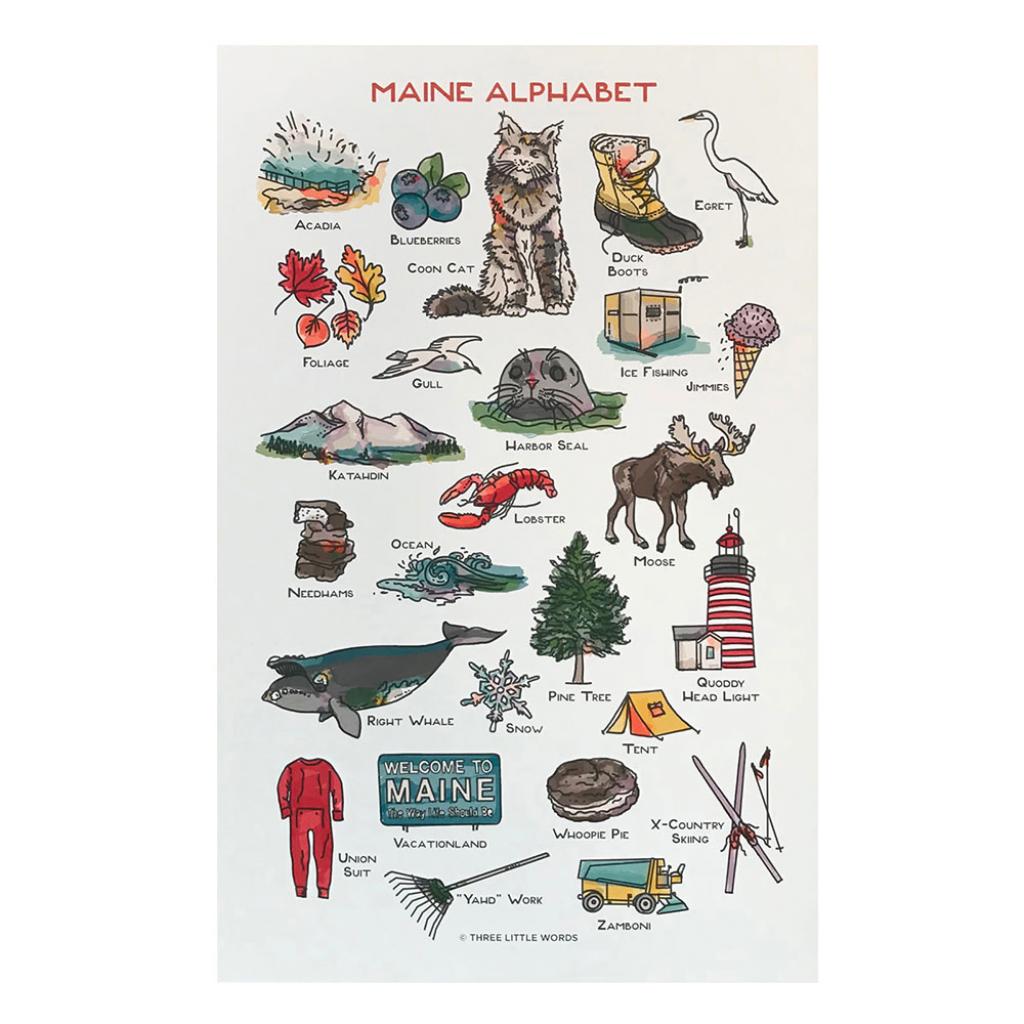 maine alphabet print 11x17 printable pictures 11x17