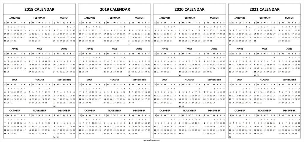 printable 2018 2019 2020 2021 calendar template marketing 5 year planning calendar