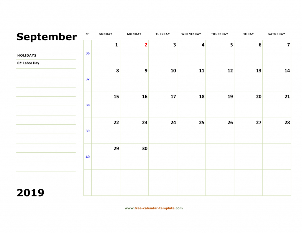 printable september 2019 calendar box and lines for notes calendar with lines printable