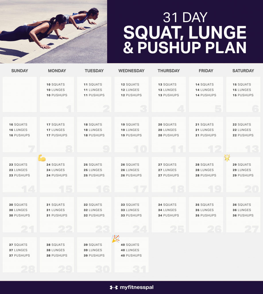 the 31 day squat challenge lunge pushup plan with images 30 day squat challenge schedule