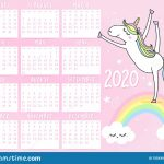 Unicorn Calendar For 2020 Year Stock Vector Illustration Printable Monthly Calendar 2020 With My Little Ponies
