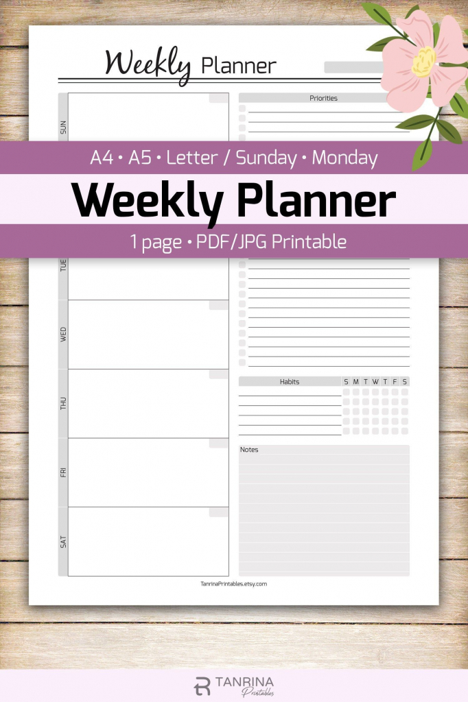 Vertical Weekly Planner Printable A5 Student Planner Printable Student Calendar 2020 2020
