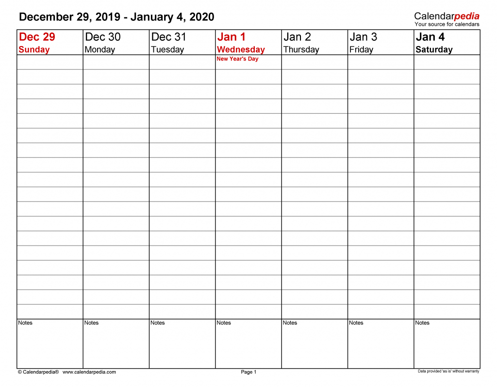 weekly calendars 2020 for word 12 free printable templates printable calendar free 2020 day with times 1