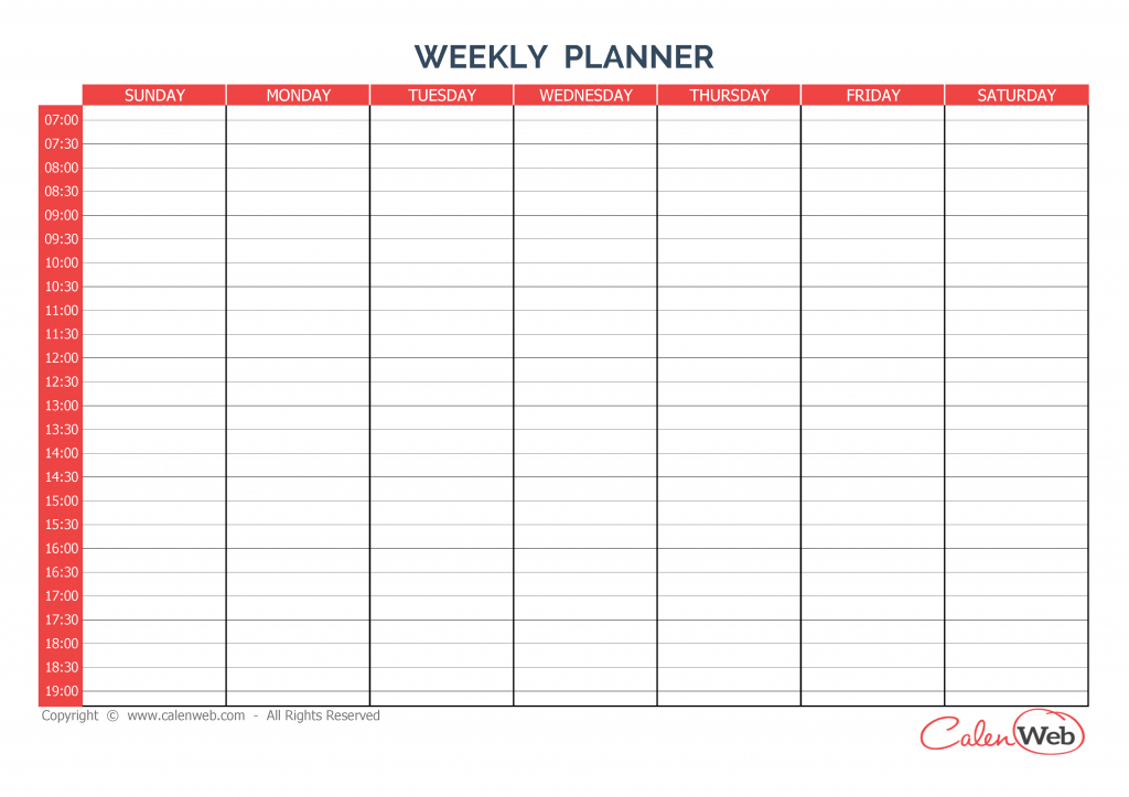 weekly planner 7 days first day sunday a week of 7 days 7 day a4 calendar