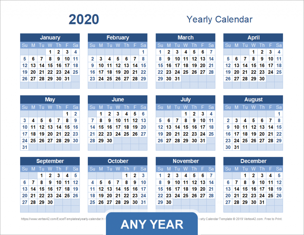 yearly calendar template for 2020 and beyond 10 year monthly calendar template